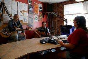 Tanya Bernice Turner interviews musicians Chris King and Nigel Jones at WMMT during Seedtime in 2016.